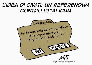 Italicum, Civati, Referendum, vignetta, satira