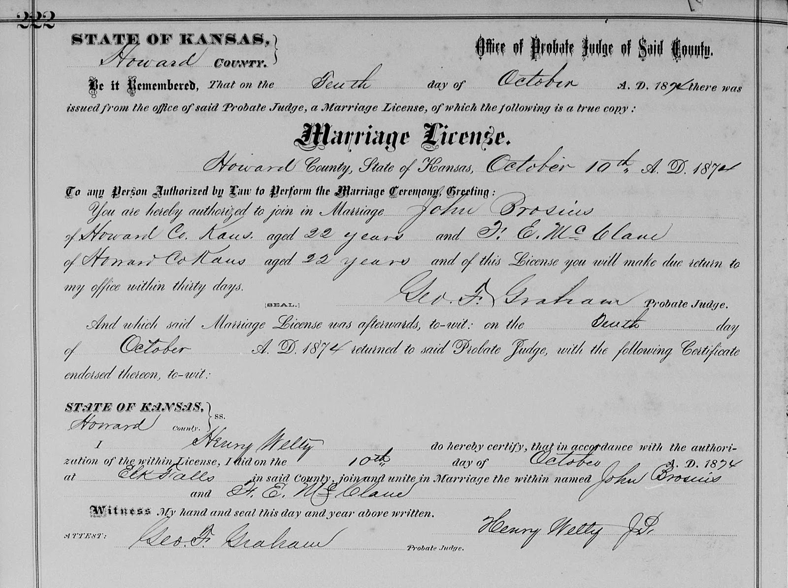 The heritage huntress brosius family in howard county kansas although little is known about johns marriage to frances it is easy to guess how they met in the 1875 kansas state census the couple appear directly 1betcityfo Gallery