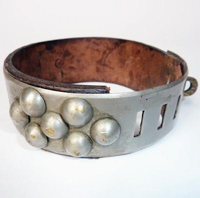 antique dog collar, rare dog collar, victorian dog collar, antique leather and brass dog collar