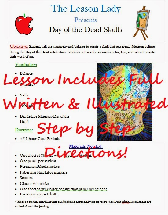 http://www.teacherspayteachers.com/Product/Day-of-the-Dead-or-Dia-de-los-Muertos-Skull-Art-Lesson-158370
