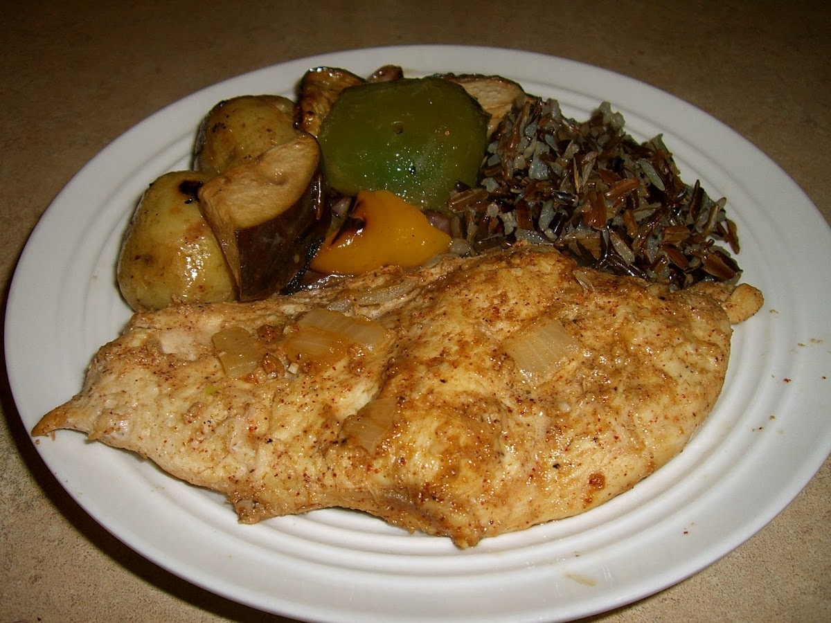 Tandoori Chicken with Roasted Vegetables and Wild Rice