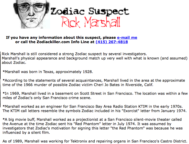 Free To Find Truth Rick Marshall The Zodiac Killer And Simple