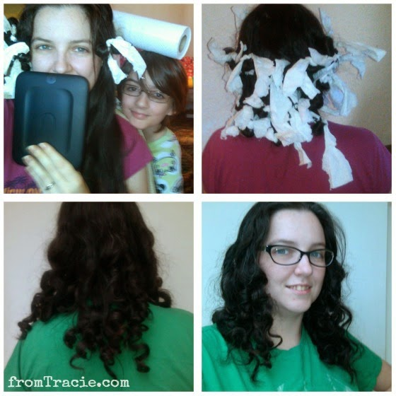 step by step paper towel curls