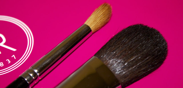 Shu Uemura brushes #20 cheek blush brush #8HR angled eye shading brush sable pony hair
