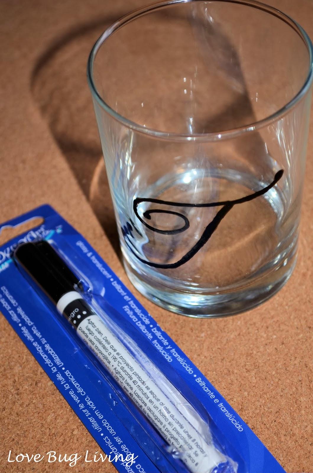 Love bug living monogram drink glasses for Enamel paint pens for glass