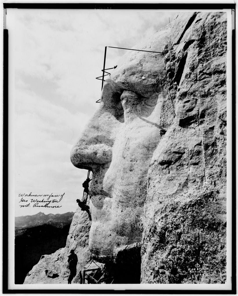 Workman on Mount Rushmore