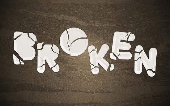 Efek Teks Patah Hati (Broken)