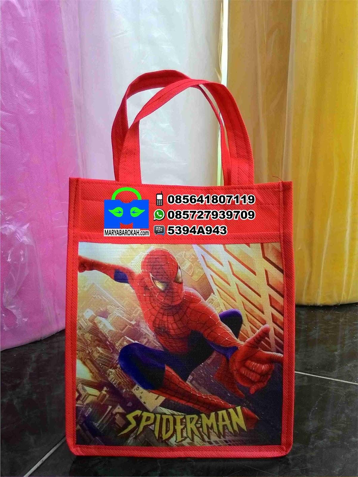 Tas Souvenir Ultah Anak Murah Spiderman Pakai Foto Desain Suka 1000 Minim Pesan 50pcs 25pcs Tanpa Sablon