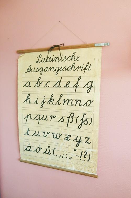 Dekoration Wallart Wandschmuck Schulkarte Rosa Alphabet