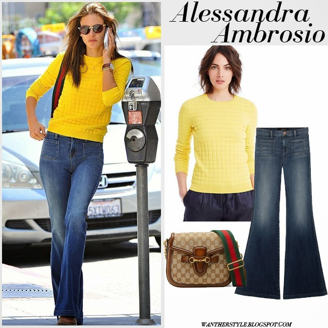 Alessandra Ambrosio in yellow sweater, denim flare J Brand Demi jeans and canvas Gucci shoulder bag want her style fashion inspo april 2015