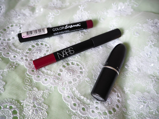 Maybelline Colour Drama in 310 Berry Much, Nars Velvet Matte Lip Pencil in Damned, Mac Lipstick in Diva