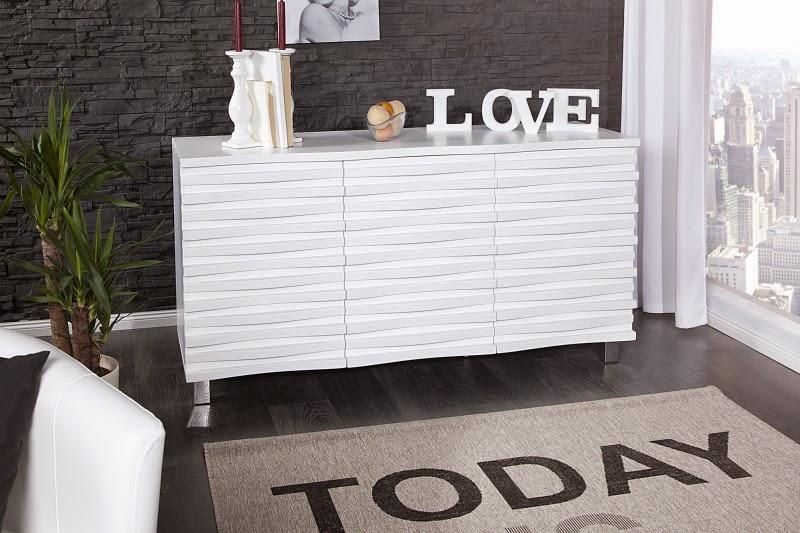 dizajnova komoda do obyvacky, biely luxusny nabytok