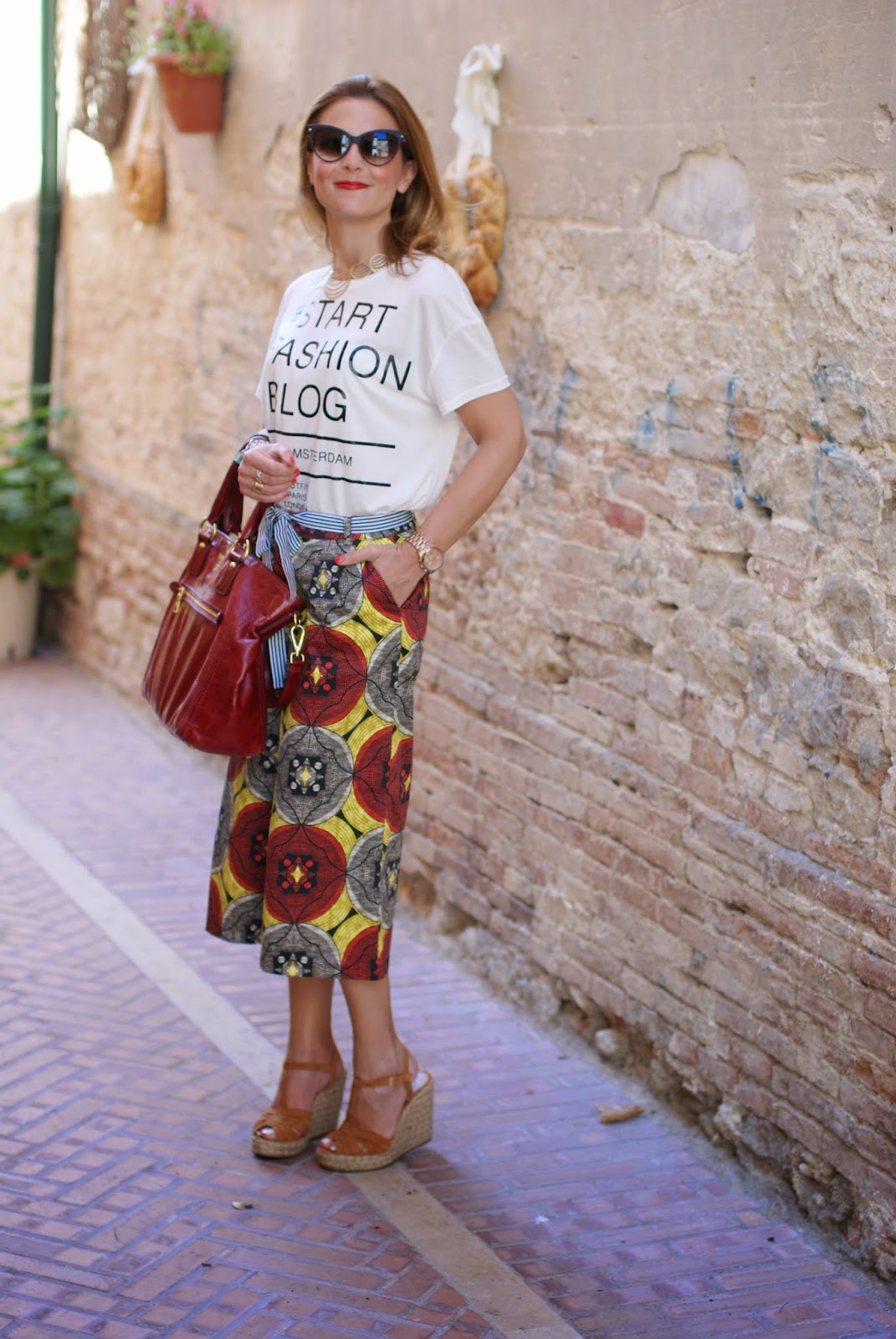 red Prada tote bag, culottes trend, Northland culottes, Fashion and Cookies, fashion blogger