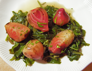 Beets with Dressing Served over Greens