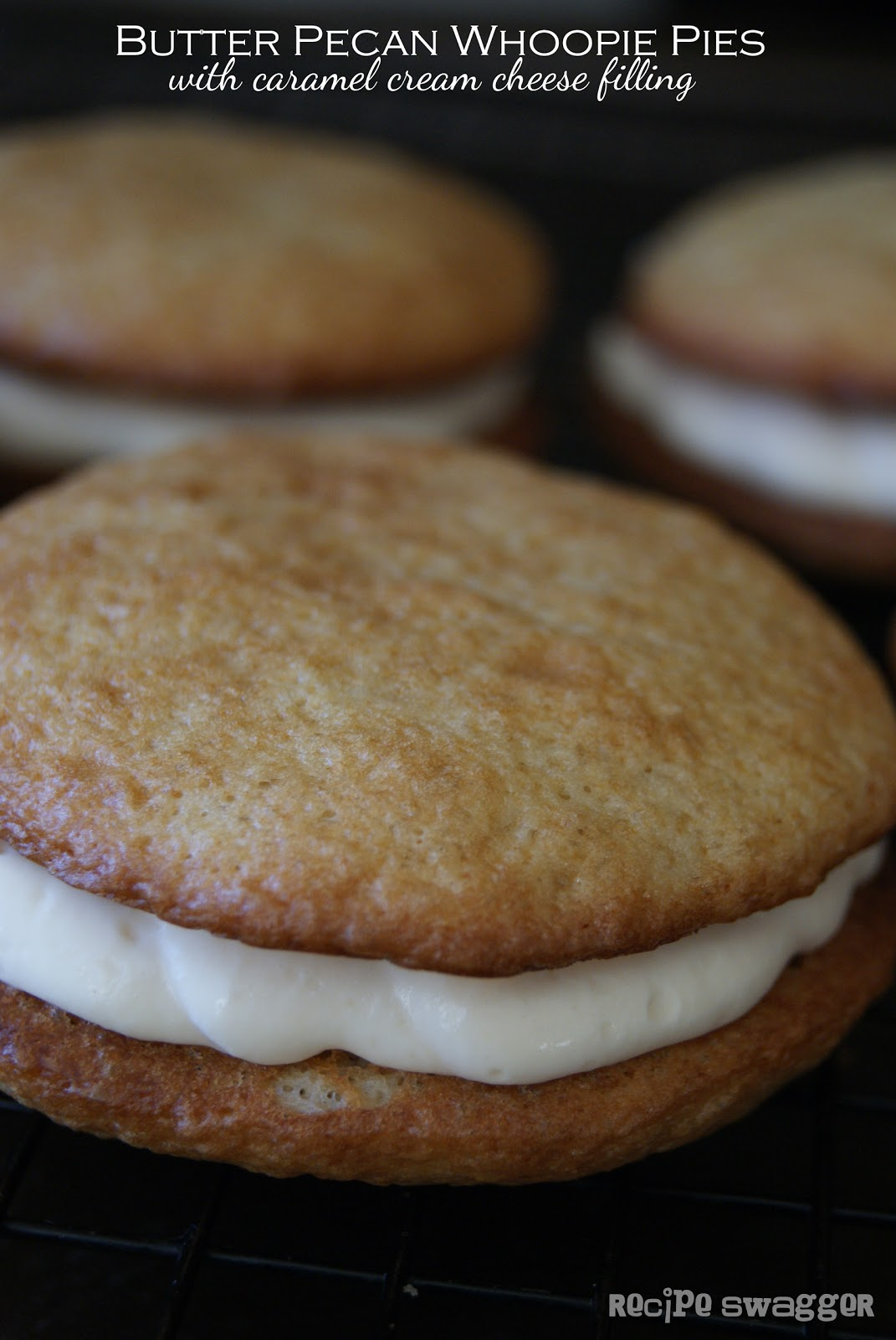 Butter Pecan Whoopie Pies with Caramel Cream Cheese Filling