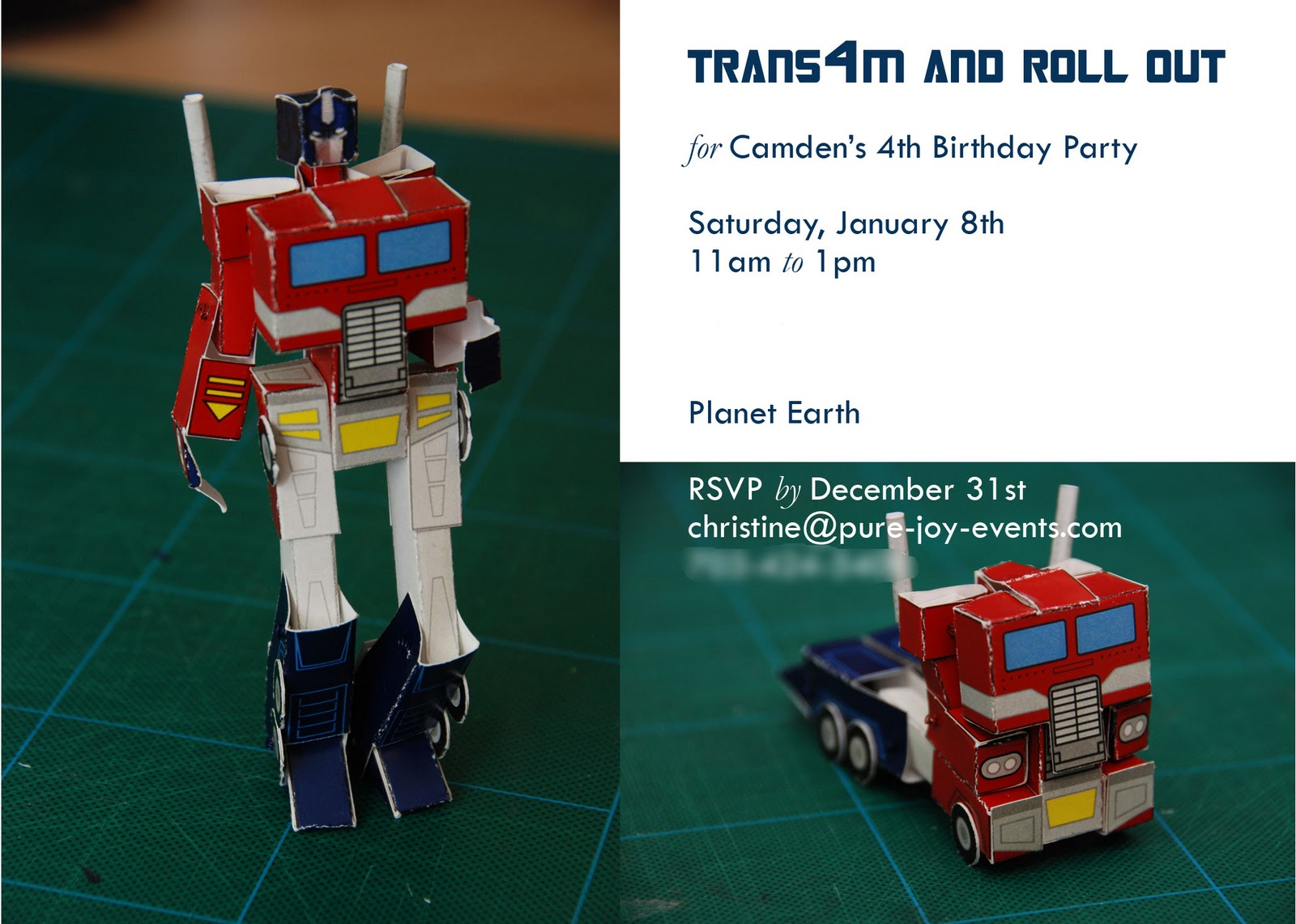 Pure Joy Events Transformers Birthday Party – Transformer Party Invitations