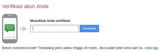 masukkan kode verifikasi akun google
