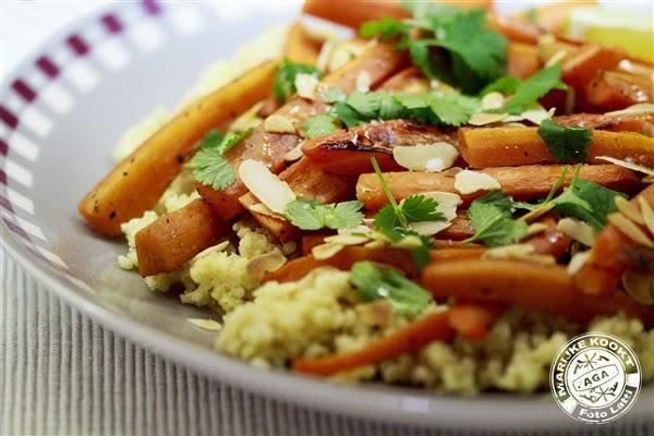 Gierst met geroosterde wortels