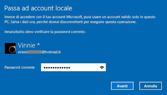 Passa ad account locale Windows 10 verifica password account Microsoft
