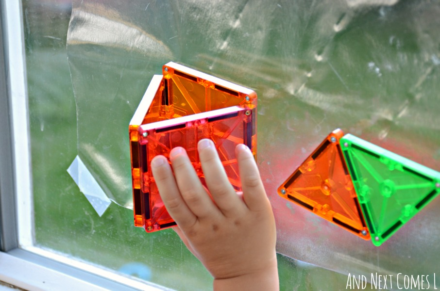 Building a 3D triangle on windows using Magna-Tiles from And Next Comes L