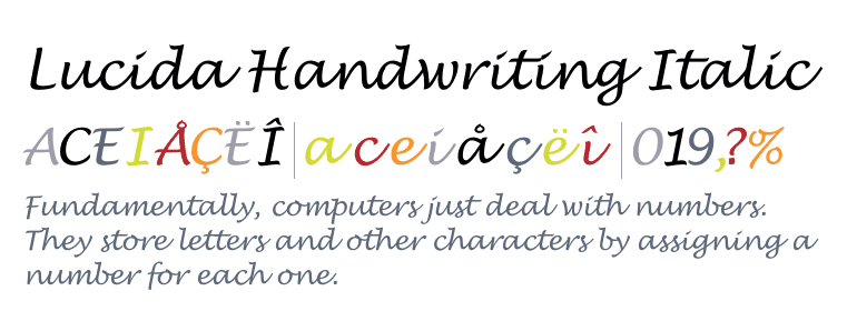 Font Lucida Handwriting