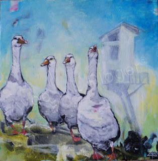 Glade gæs, kunst, acryl maleri, moderne