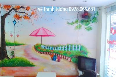 vẽ tranh tường,vẽ tranh tường quán cafe teen