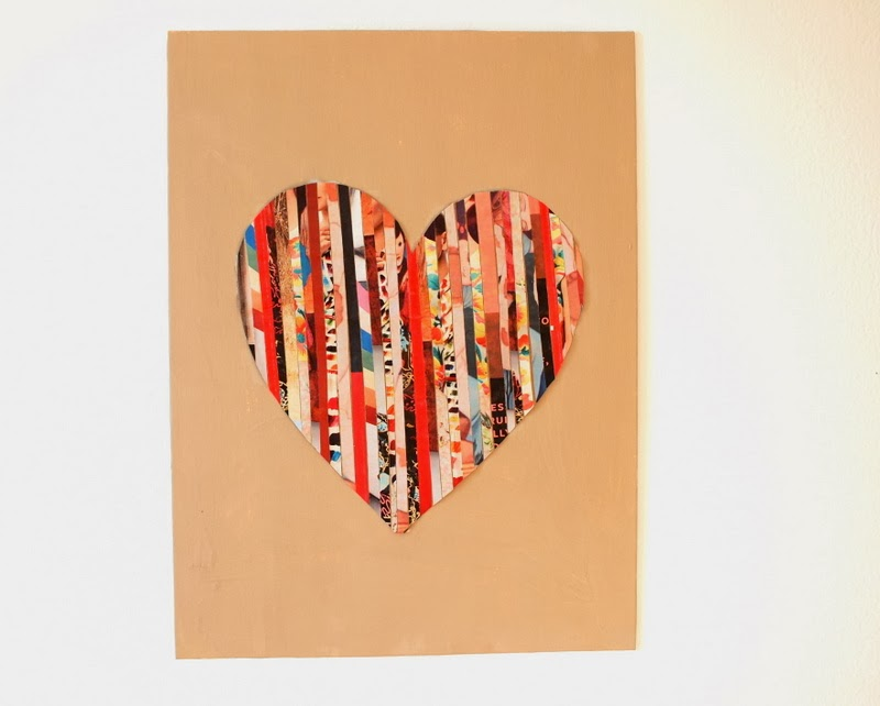 DIY Magazine Strip Silhouette Heart Art