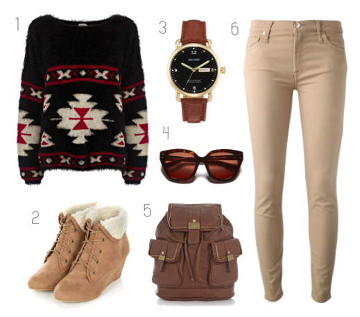 polyvore winter outfit look inspiration shades pants sweater watch boots brown