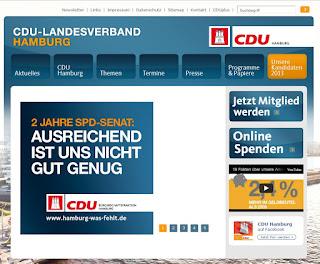 Screenshot der Webseite der CDU Hamburg