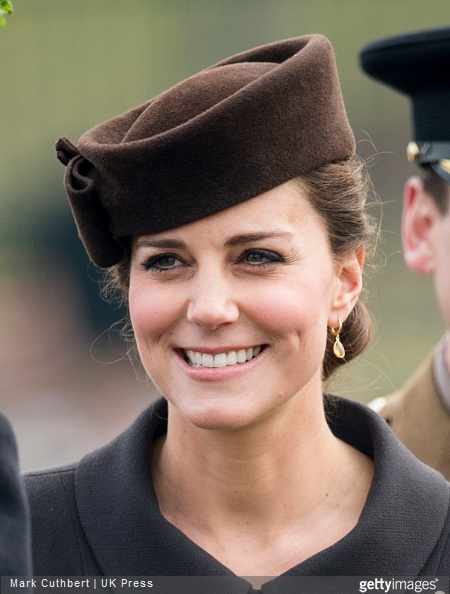 Catherine, Duchess of Cambridge attends the St Patrick's Day Parade at Mons Barracks