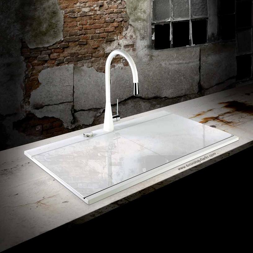 Fregadero granito tapa cristal tu cocina y ba o - Tipos de fregaderos ...