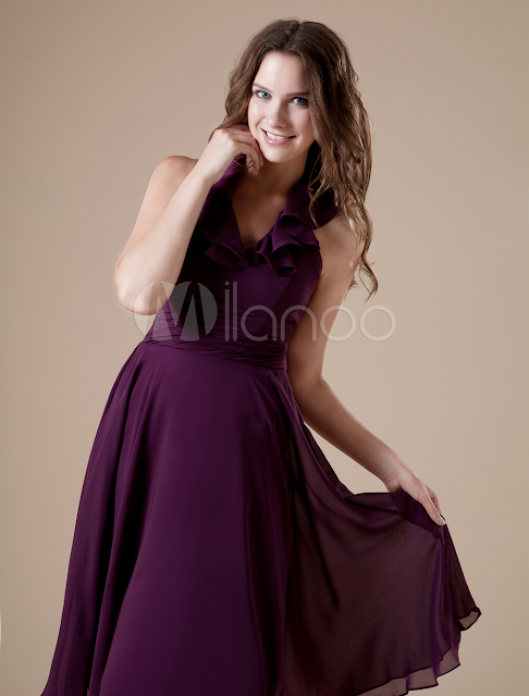 China Wholesale Homecoming Dresses - Feminine Purple V-neckline Chiffon A-line Womens Homecoming Dress