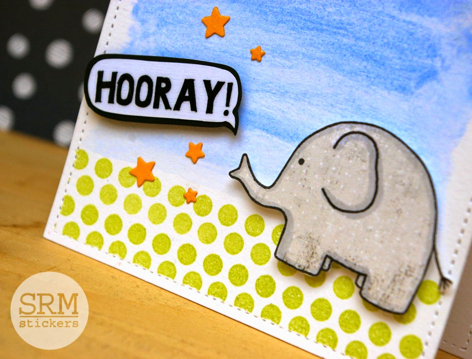SRM Stickers Blog - Elephants Love to Celebrate card by Lorena - #card #thinkingofyou #stickers #twine #clearstamps #janesdoodles