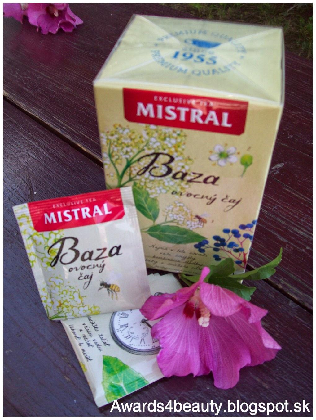 Ovocný čaj Mistral z bazy čiernej v krásnom obale s kreslenými detailami.