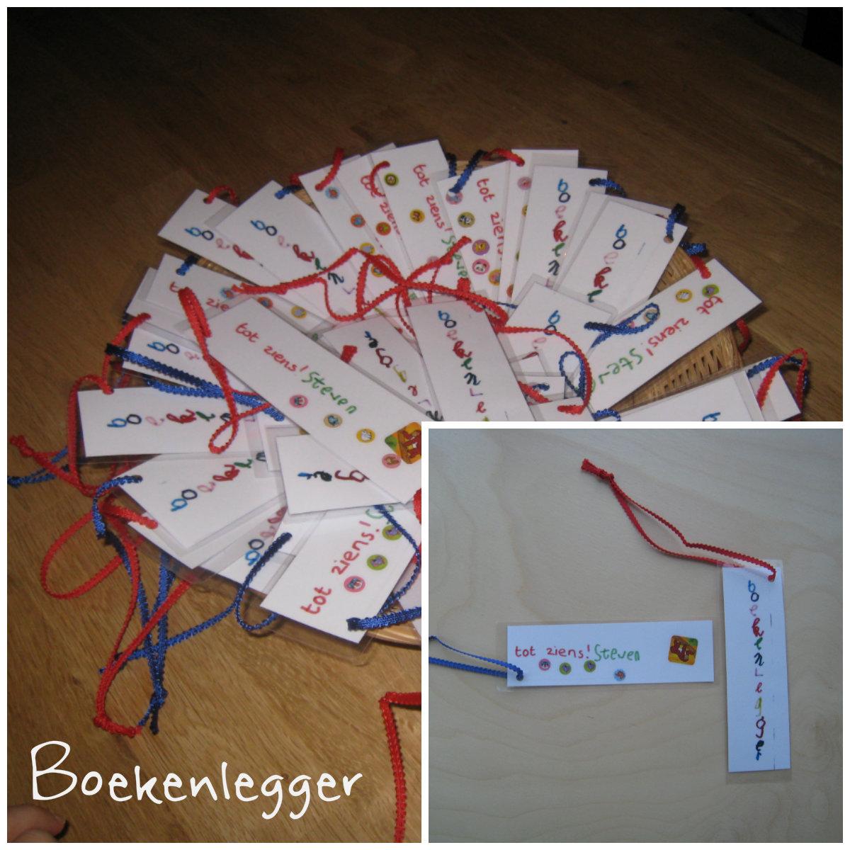 Zelfgemaakte boekenlegger met band met schulprand