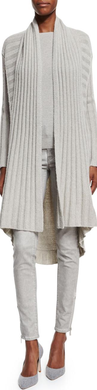 Ralph Lauren Black Label Open-Front Cashmere Cardigan light gray melange