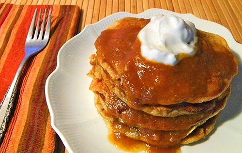 Stack of Pancakes layered with Persimmon Sauce