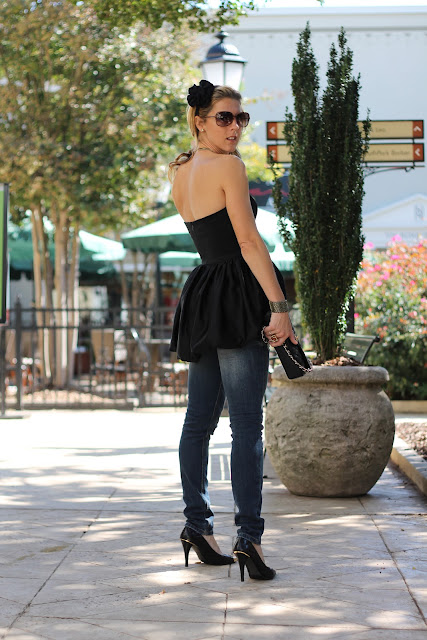 Bustier top from summerbird, zara jeans, Chanel purse, ZoeLynn & Co. headband, Stella & Dot necklace, Tory Burch pumps, Melinda Maria Ring, Tiffany, Diamonds Direct, Blinde Sungalsses