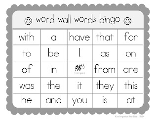 Kindertastic sight word bingo for Word wall template printable