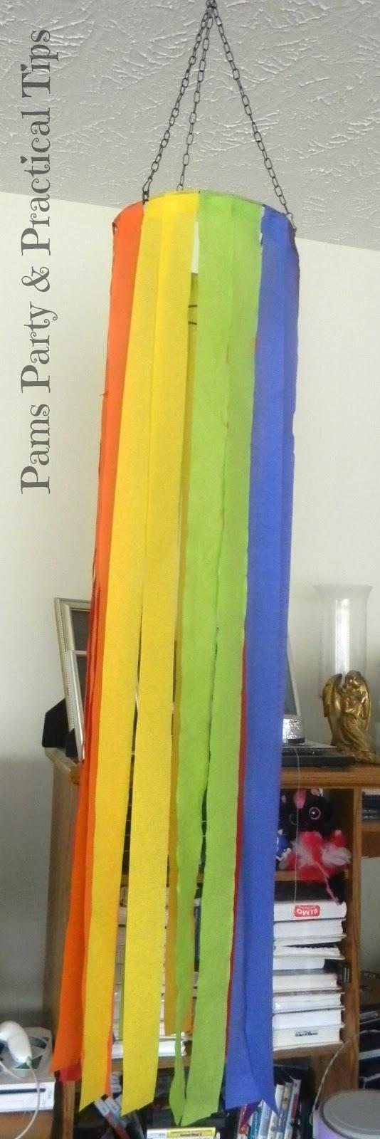 Rainbow Party Crepe Paper Chandelier