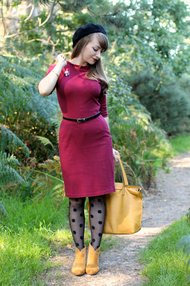 Heart of Haute Super Spy dress with mustard and polka dots.