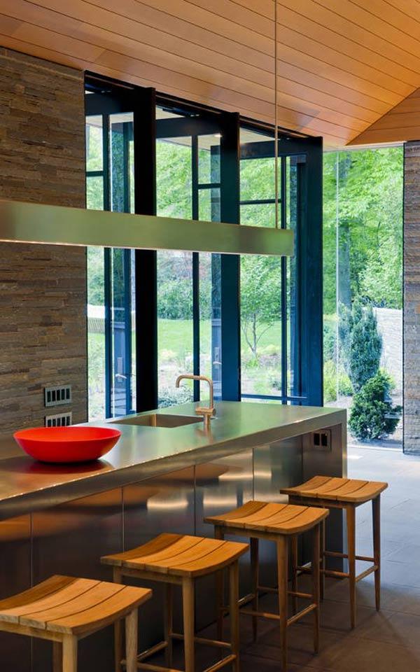 Rumah Paviliun dengan Dinding Kaca dan Interior Organik | Desain Rumah ...