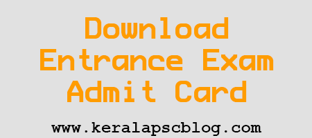Kerala MSc Nursing Entrance Exam 2014 Admit Card