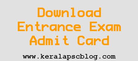 Kerala MSc Nursing Entrance Exam 2014 Admit Card