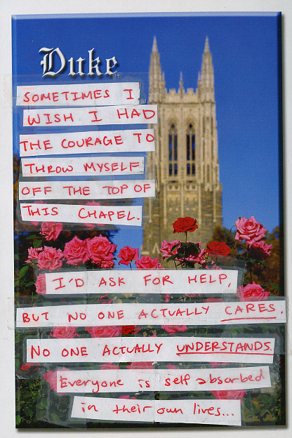 Sometimes I wish I had the courage to throw myself off the top of this chapel. -- I'd ask for help, but no one actually CARES. No one actually UNDERSTANDS. Everyone is self absorbed in their own lives...