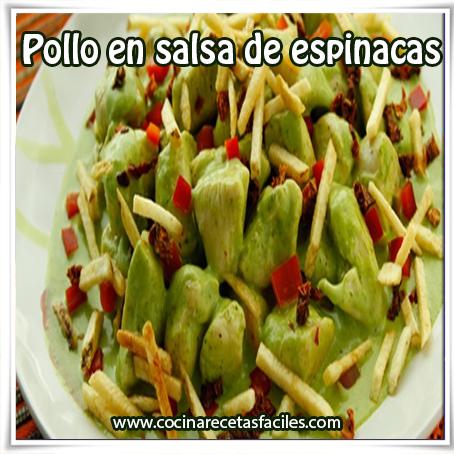 Recetas de pollo , receta pollo salsa de espinacas