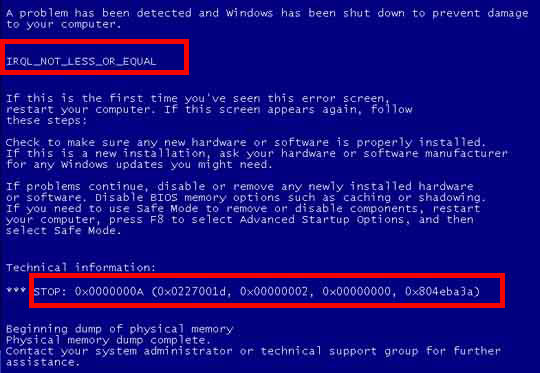 How To Solve Blue Screen Error in Window XP furthermore Window 7