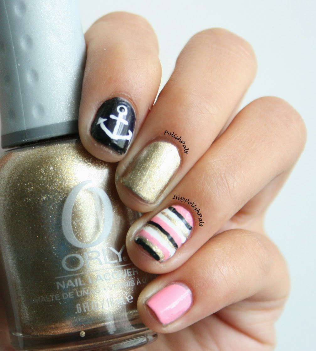 Pink Nautical Nails