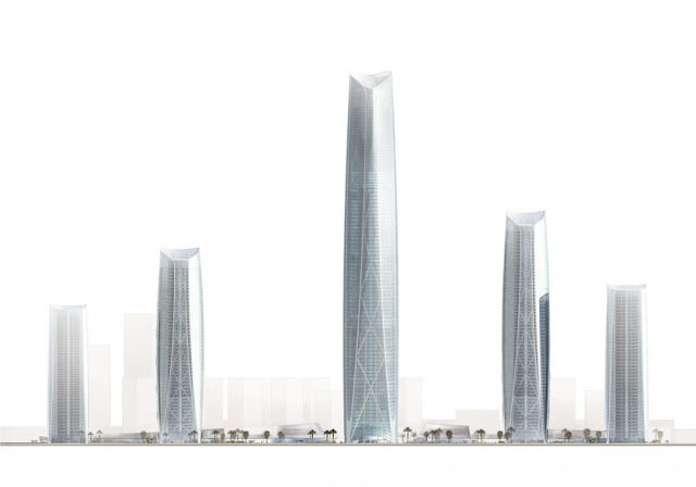 Illustrations showing different heights among the skyscrapers